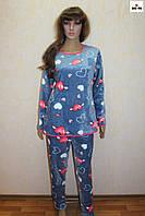 Пижама женская махровая теплая зимняя синия 40-58 р.
