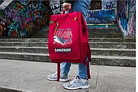 Сумка женская рюкзак красная стильная оригинальная 185R Shark attack
