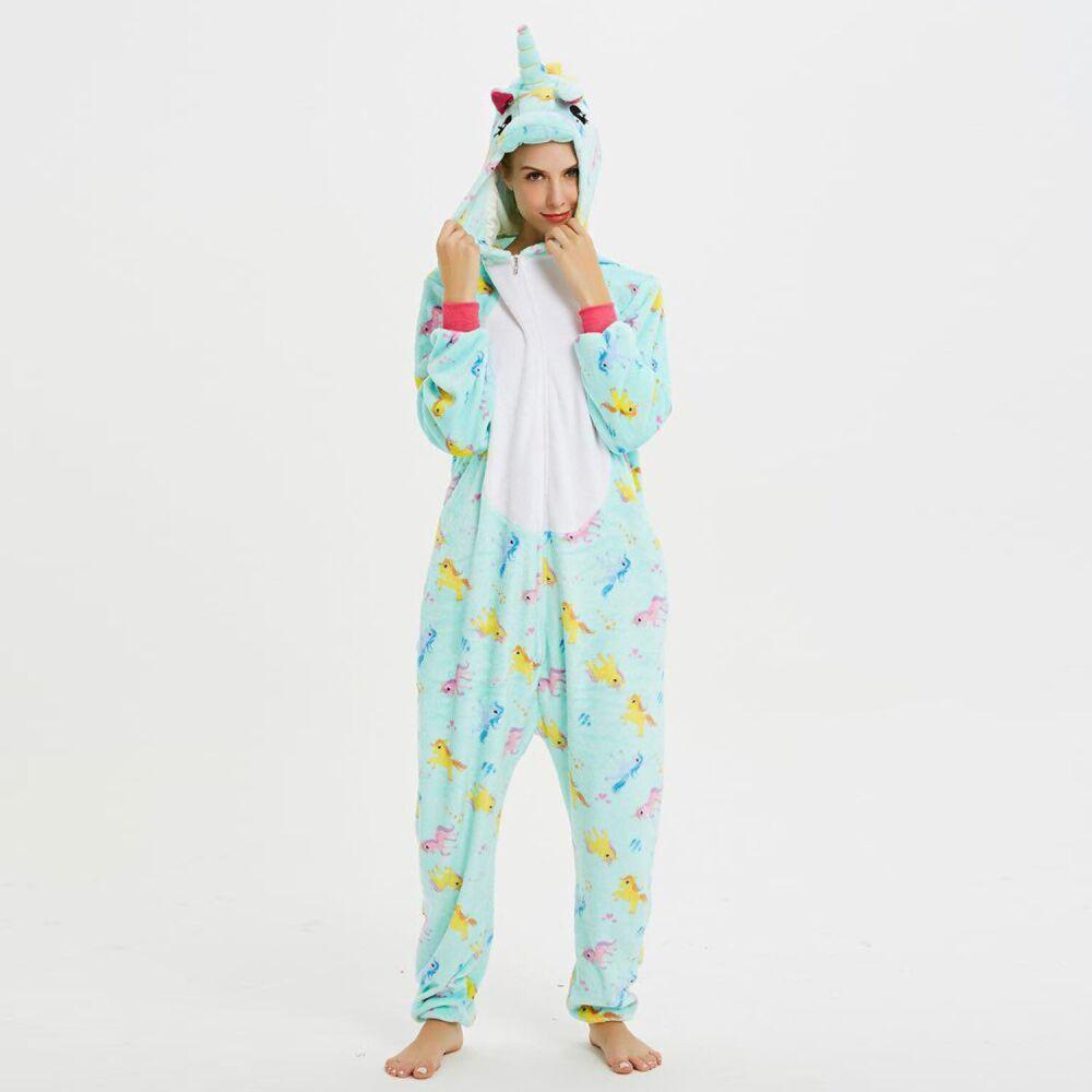 Детская пижама Кигуруми Единорог мятный с принтом S (на рост 148-158см)