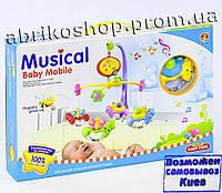 Детская карусель мобиль на кроватку, подвески 4шт, музыка, на батарейке, в коробке. (6518 D)