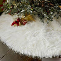 Хит продаж! Рождественская Юбка для Елки диаметр 75 см, коврик под елку, белый искусственный мех, на липучках