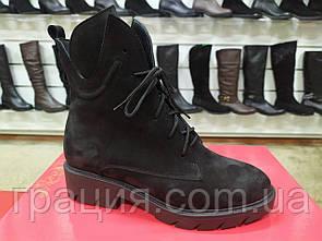Стильные женские замшевые зимние ботинки