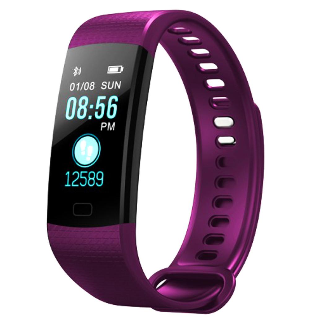 """Умный фитнес браслет с пульсометром и тонометром экран 0.96"""" Smart band UKC Y5 пурпурный"""