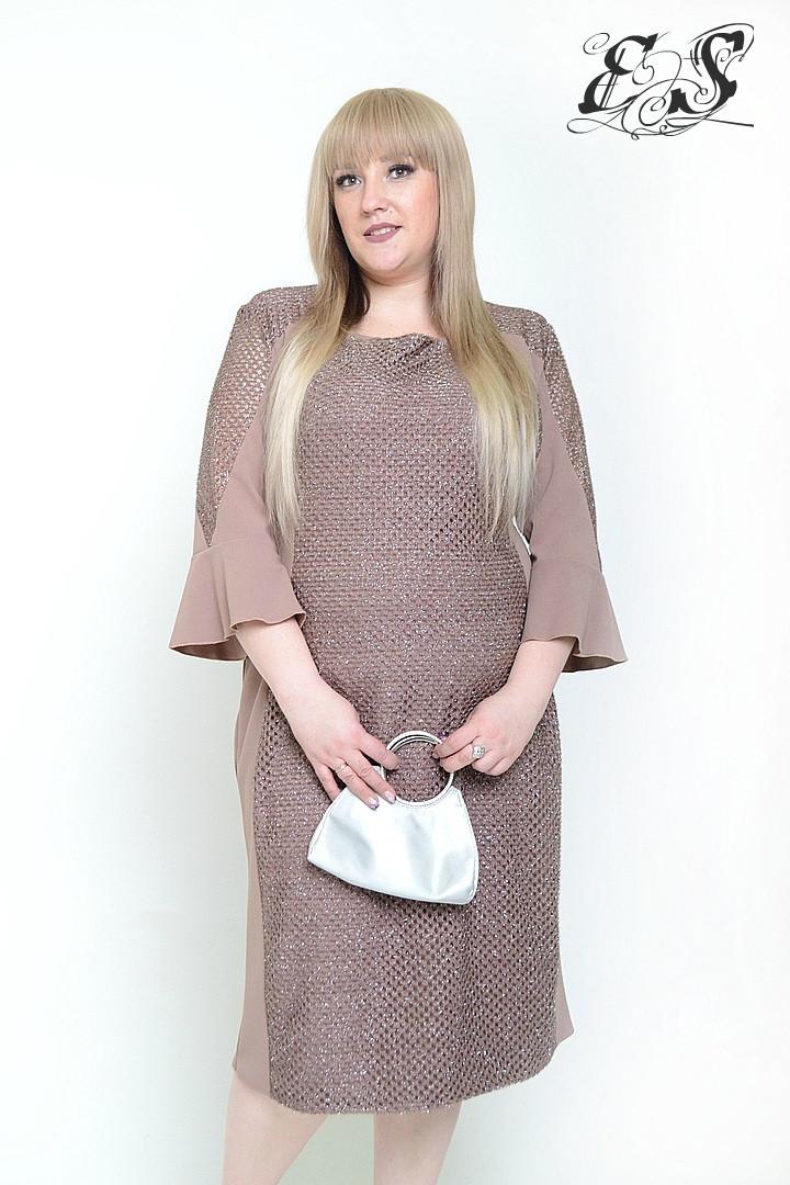 Красивое нарядное женское платье батал с люрексом 54-68 р
