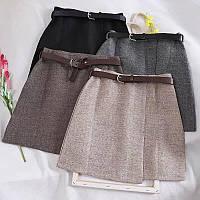 Юбка шорты теплая женская твидовая с поясом