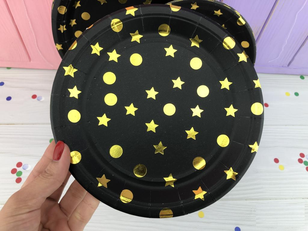 Тарелки Черные с золотом 18 см, 20 шт