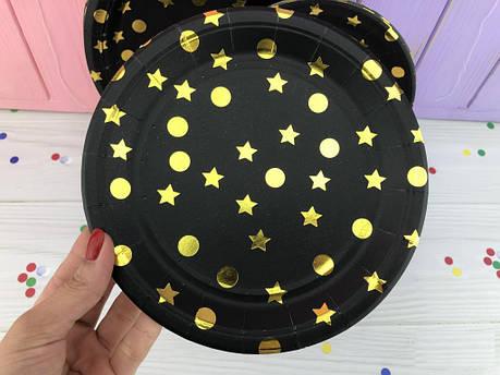 Тарелки Черные с золотом 18 см, 20 шт, фото 2