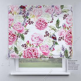 Римская фото штора цветы розовые Прованс. Бесплатная доставка. Инд.размер. Гарантия. Арт. 02-036
