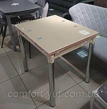 Стол стеклянный раскладной обеденный ТВ21 бежевый 80\130*65*75