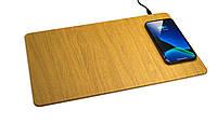 Беспроводное зарядное устройство Qitech Mouse Pad 2 с технологией QI Fast Charge цвет brown, фото 1