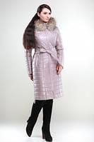 Пуховик женский с натуральным мехом енота или песца
