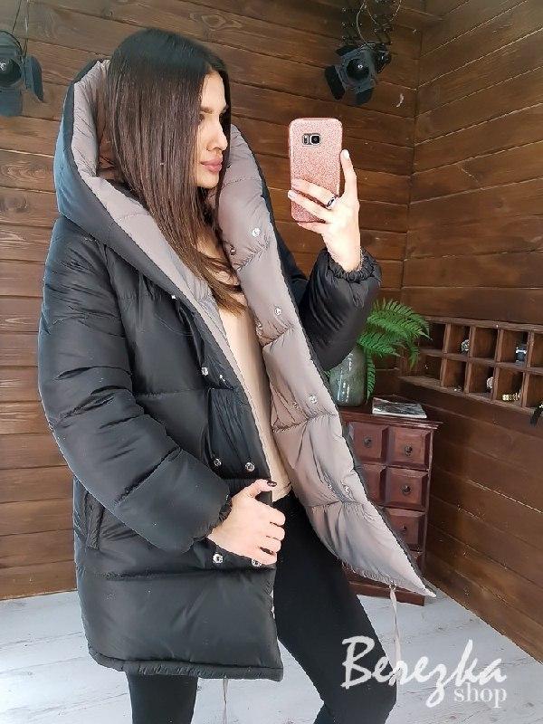 Зимняя двухсторонняя теплая куртка со светоотражающей плащевкой vN5924
