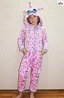 Комбінезон махровий единорг дитячий, єдинорг рожевий теплий кигуруми р. 34-40