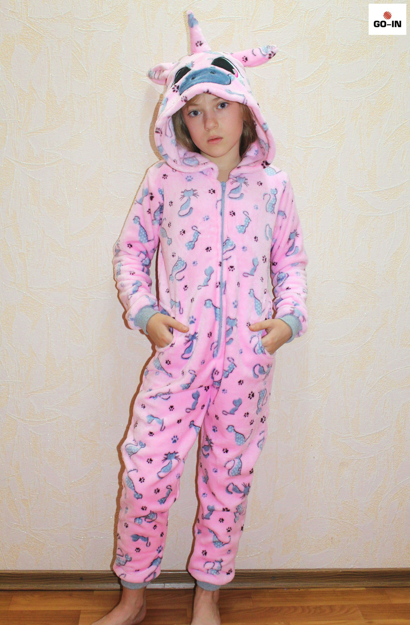 Пижама комбинезон махровый единорг детский теплый кигуруми розовый р. 34-40