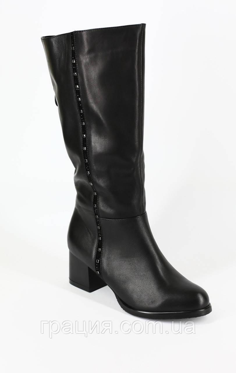 Зимние женские кожаные сапожки на полную ногу