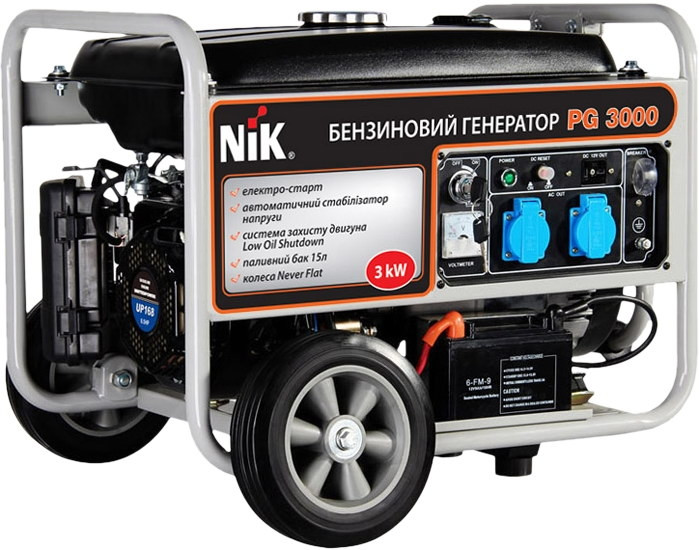 Однофазный бензиновый генератор NiK PG 3000 (3 кВт)
