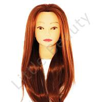 Тренировочная голова/манекен для моделирования причесок, рыжая, искусственный волос.