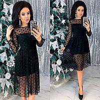 Стильное платье в горошек черного  цвета 42-44, 46-48 р.