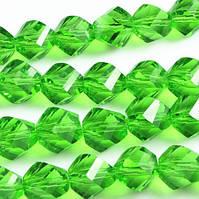 Бусины витые 6 мм зеленые (84 шт) с огранкой