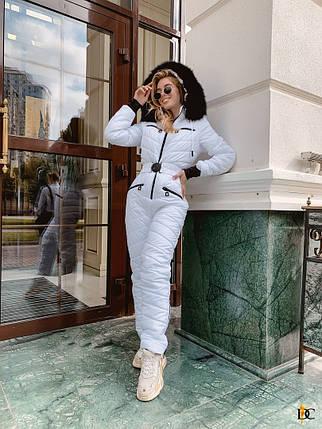 Модный женский белоснежный лыжный костюм с опушкой из натурального меха С М Л ХЛ ХХЛ, фото 2