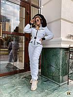 Модный женский белоснежный лыжный костюм с опушкой из натурального меха С М Л ХЛ ХХЛ