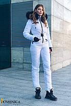 Модный женский белоснежный лыжный костюм с опушкой из натурального меха С М Л ХЛ ХХЛ, фото 3