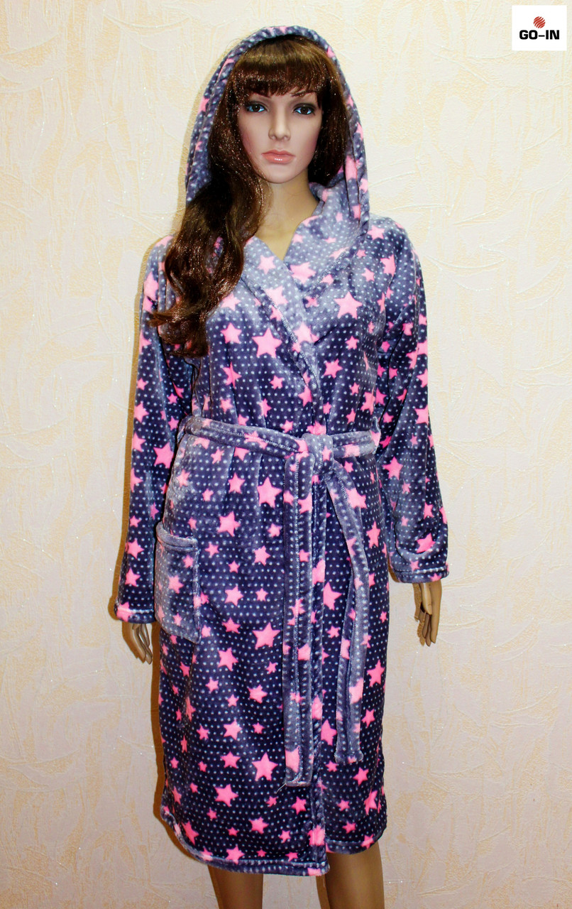 Махровый женский халат с капюшоном розовая звезда 46-50