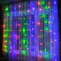 Гирлянда Штора 2 м х 1.5 м (240 LED статический режим) Световой занавес Штора Мульти ( разноцвет )