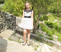 Платье для девочки  на выпускной вечер,белое,в горошек, 10-11лет,Киев. , фото 1