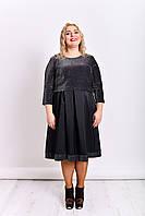 Нарядное женское платье чёрного цвета с люрексом батал 48-54 размер