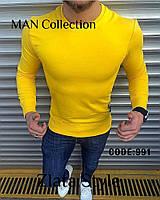 Мужской батник двухнитка черный электрик желтый M L, фото 1