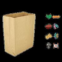 Бумажный пакет без ручек крафтовый с прямоугольным дном 260х130х350мм (ШхГхВ) 70г/м² 100шт (686)
