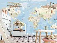 """Детские фотообои """"Карта мира с воздушнымм шарами"""" на русском языке"""