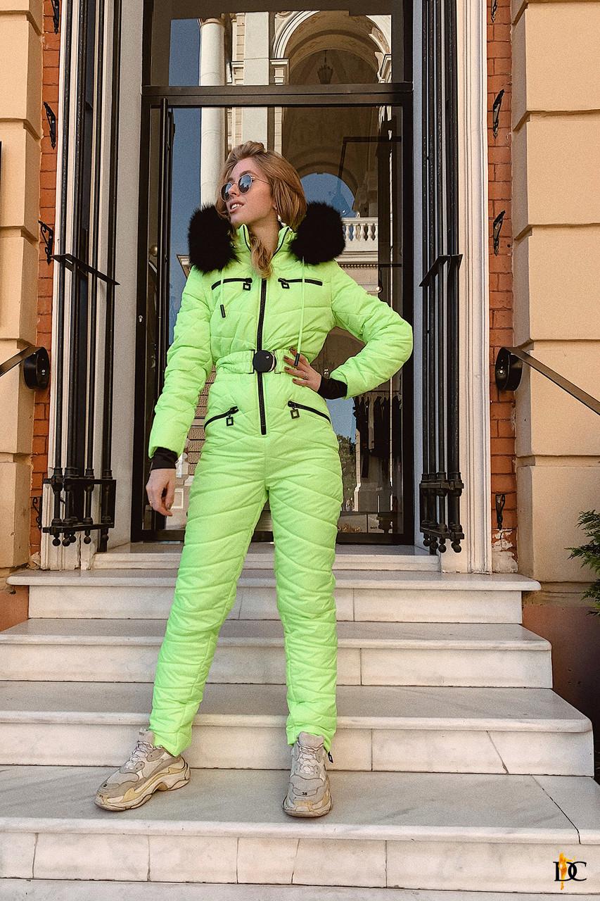 Стильный неоновый лыжный костюм с опушкой из натурального меха С М Л ХЛ ХХЛ