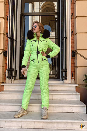 Стильный неоновый лыжный костюм с опушкой из натурального меха С М Л ХЛ ХХЛ, фото 2