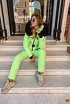 Стильный неоновый лыжный костюм с опушкой из натурального меха С М Л ХЛ ХХЛ, фото 3