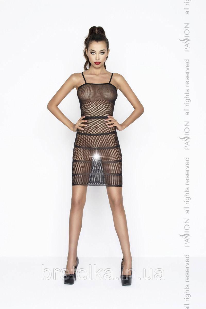 Облегающее прозрачное платье черное BS033 Passion
