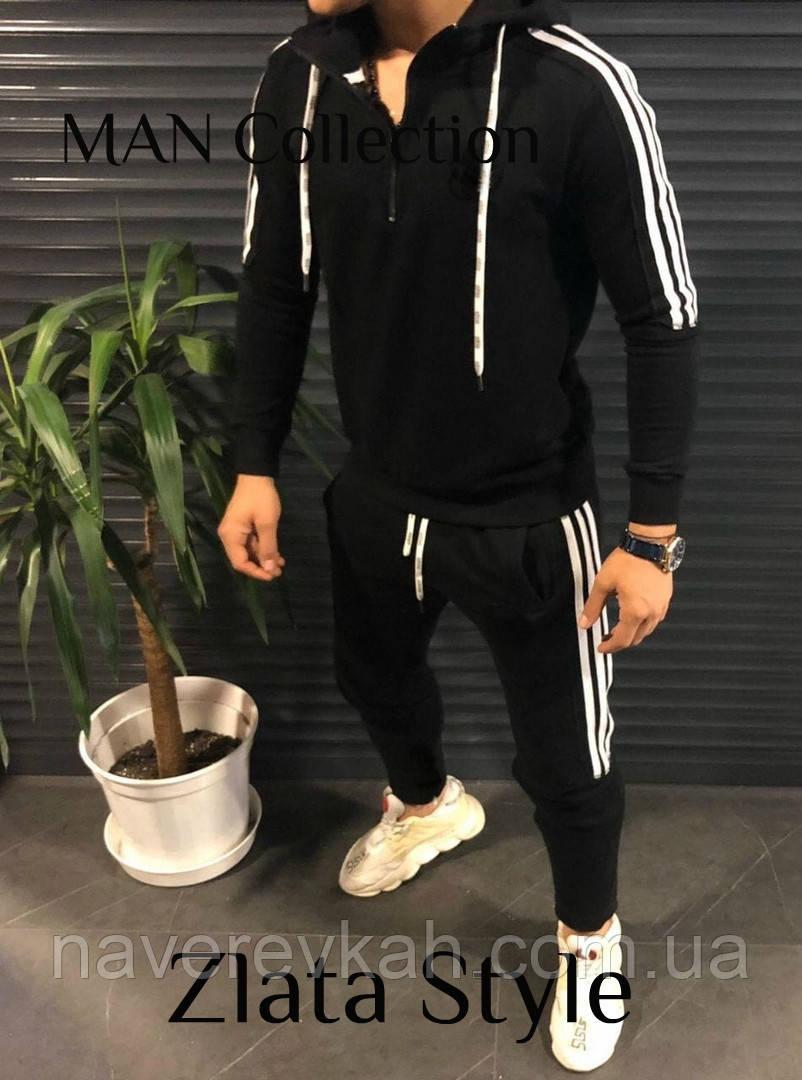 Мужской спортивный костюм на молнии с капюшоном двухнить черный хаки меланж S M L