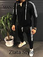Мужской спортивный костюм на молнии с капюшоном двухнить черный хаки меланж S M L, фото 1