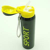 Бутылка термос для воды напитков с трубочкой поилкой спортивная стальная 500 мл SPORT черная, фото 1
