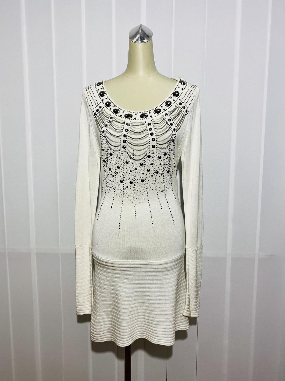 Платье-туника Lafer белое длинный рукав трикотаж