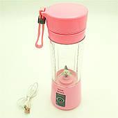 Фітнес Блендер акумуляторний портативний для смузі і коктейлів 320 мл NG-02 рожевий