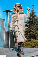 Пуховик двусторонний женский на завязках длинный  BY-6605
