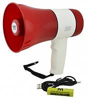 Мегафон рупор аккумуляторный громкоговоритель 15 Вт UKC ER-22U, фото 1