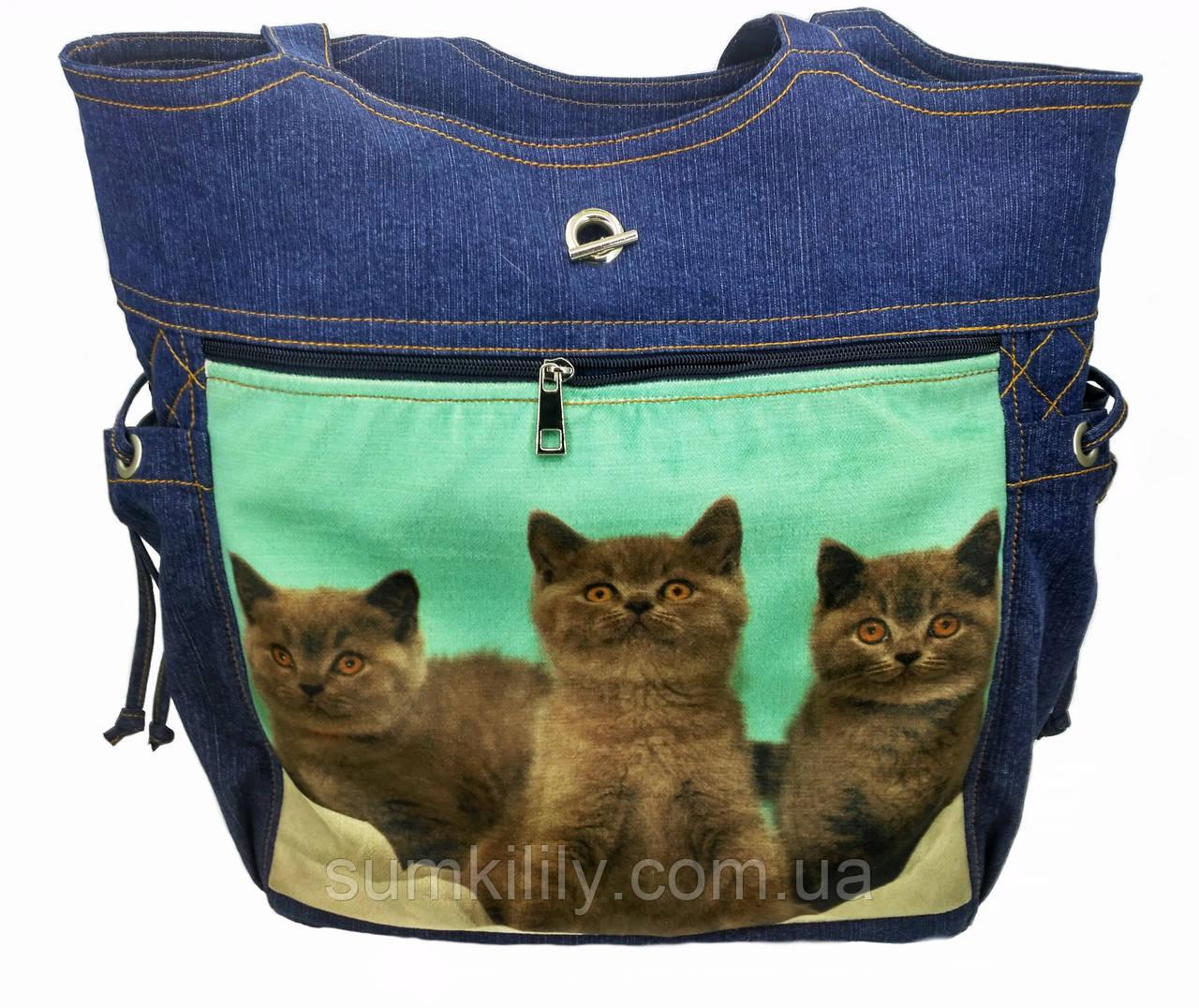 Джинсовая сумочка шопер с котами