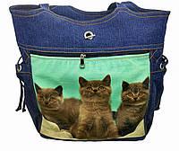 Джинсовая сумочка шопер с котами, фото 1