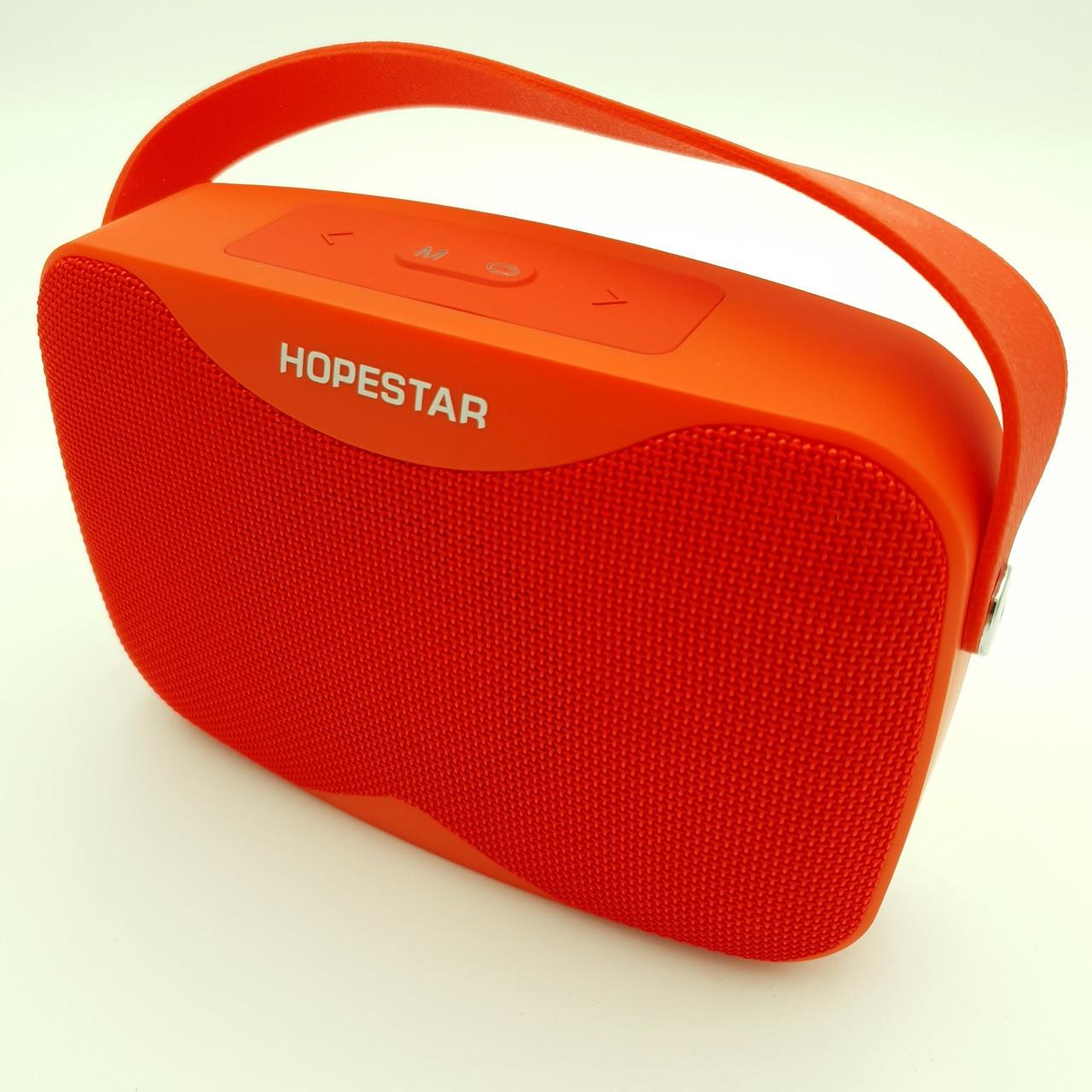 Беспроводная аккумуляторная колонка Bluetooth акустика FM MP3 AUX USB Hopestar H35 красная