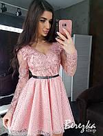 Платье женское с пышной юбкой кружево и сетка Sms3976
