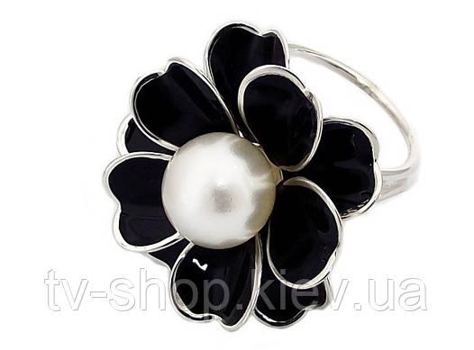 Кольцо для платков черный цветок с крупной жемчужиной