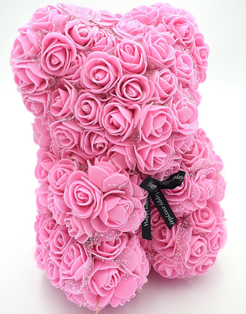 Мишка из розовых 3D роз с фатином 25 см медведь Тедди в подарочной упаковке Розовый
